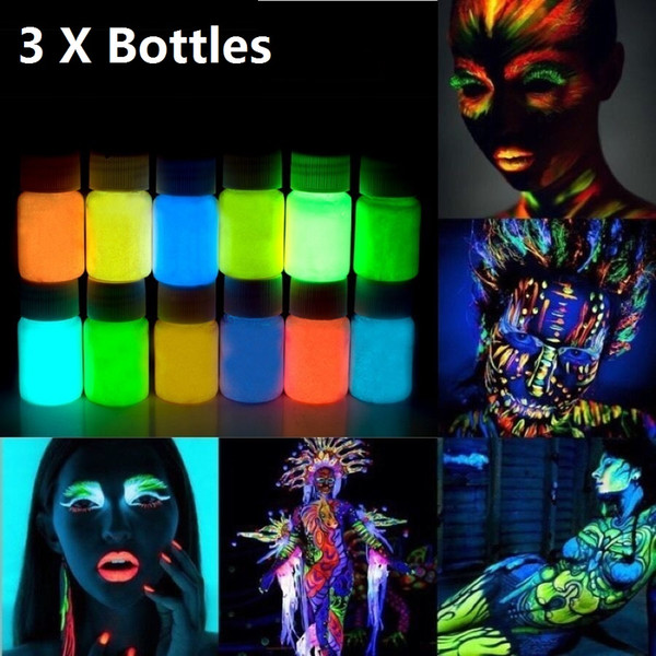 Wholesale-3pcs 25g Glowing Face Body Paint Glow In The Dark 12 Colors Lumious UV Acrylic Paints for Party & Halloween Body Makeup
