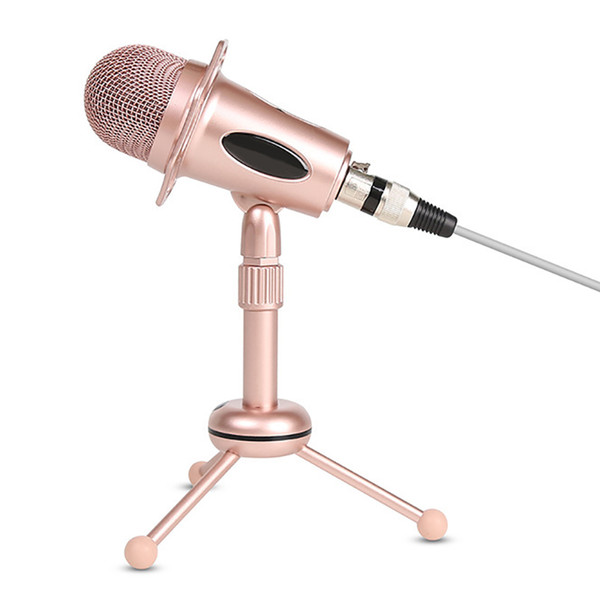 a+pink condenser microphone computer phone live microphone plug and play chat with stand