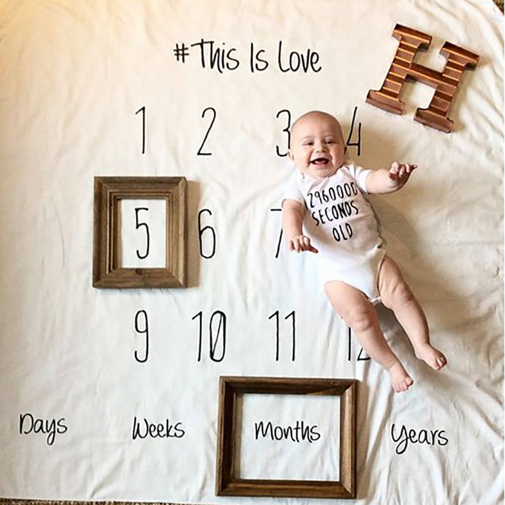 Creative Monthly Baby Milestone Blanket Photography Background Prop(No Frame)