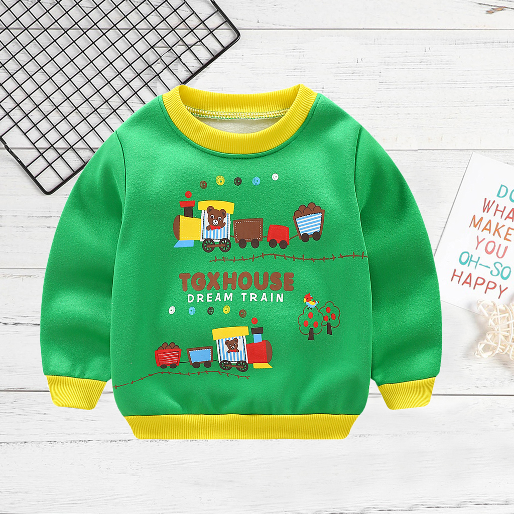 Baby/Toddler Boy's Bear Train Print Pullover