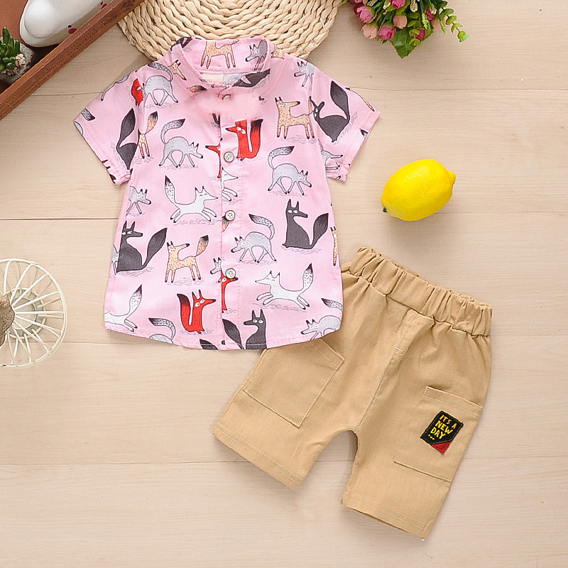 2-piece Baby / Toddler Boy Adorable Fox Print Shirt and Solid Shorts Sets