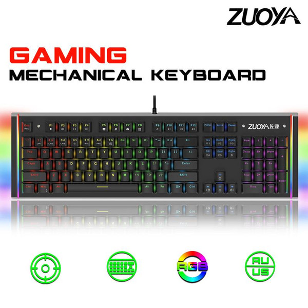 Mechanical Keyboard for Gaming Wired USB 104 Keyboard with Green Axis Red Axis Metal RGB Backlit Russian English