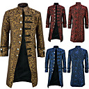 Plague Doctor Retro Vintage Gothic Steampunk Coat Masquerade Men's Cotton Costume Yellow / Red / Blue Vintage Cosplay Party Halloween Long Sleeve