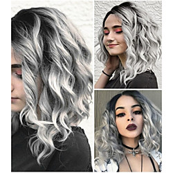 Synthetic Wig Loose Curl Middle Part Wig Long Grey Synthetic Hair 10 inch Women's Women Gray Lightinthebox