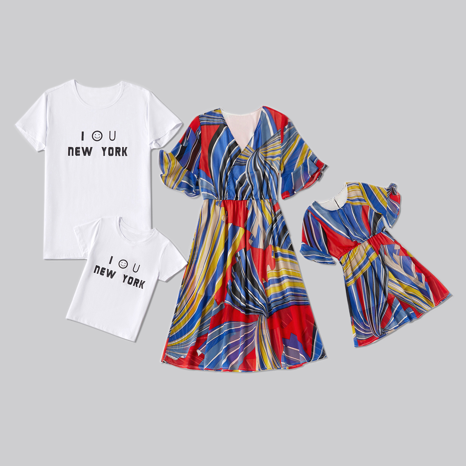 Family Matching Boho Bell Sleeves Dresses Smile T-shirts