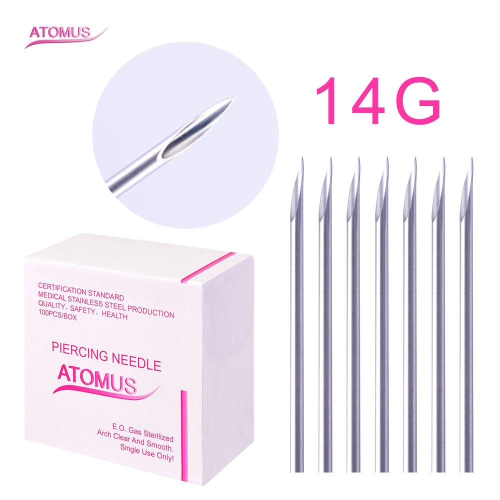 100 Pcs/Box 14G Disposable Sterile Body Piercing Needles for Ear Nose Navel Tattoo Accessories Supplies