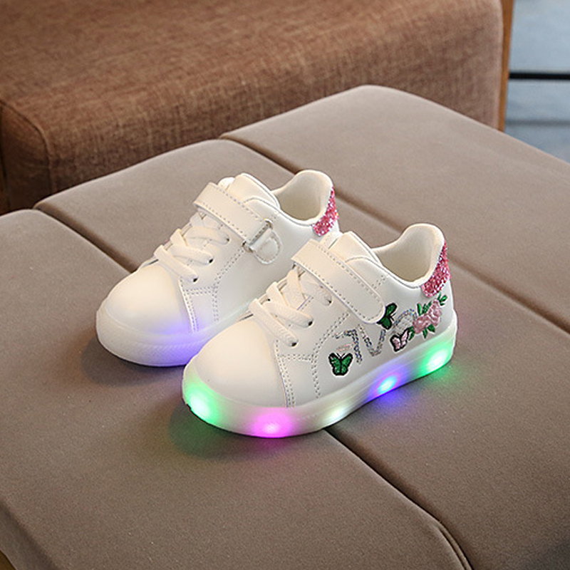 Baby/ Toddler's Butterfly Flower Embroidered LED Sneaker