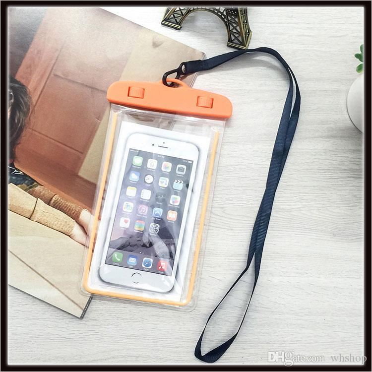 Universal Waterproof Case bag Luminous Phone Pouch For iphone X 8 8s plus Samsung S9 S7 Water proof for Cell phone