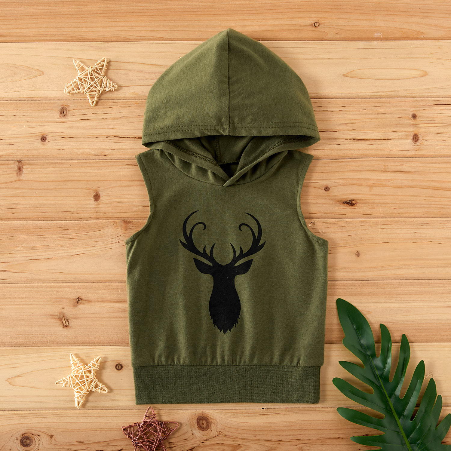 Baby Boy Stylish Deer Print Sleeveless Hoodie