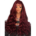 Synthetic Lace Front Wig Wavy Side Part Lace Front Wig Burgundy Long Dark Wine Synthetic Hair 20-26 inch Women's Adjustable Heat Resistant Party Burgundy