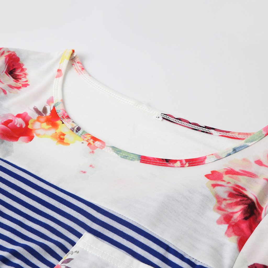Trendy Floral and Striped Nursing Tee( Random printing position)
