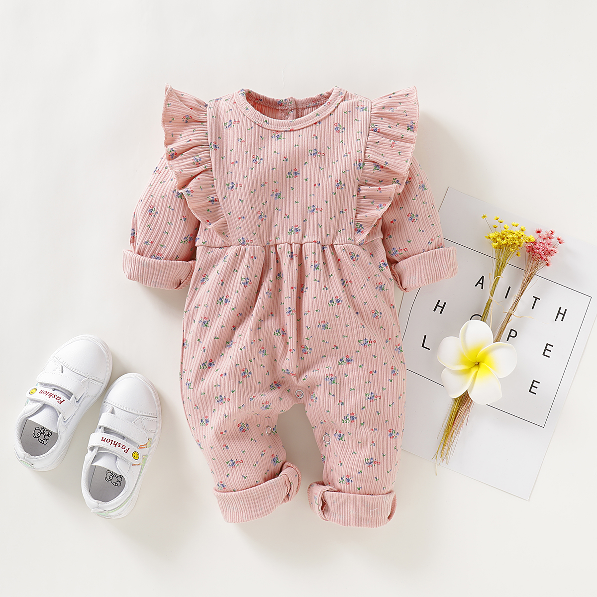 Baby Girl Ruffled Design Floral Allover Long-sleeve Jumpsuit