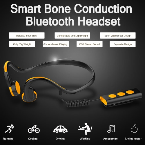Portable Bone Conduction Headphone BT 4.1 Stereo Headsets Waterproof Sport Earphones Hands-free w/ Mic Indoor Outdoor Use Headphone for Android iOS Smart Phones Tablet PC Notebook