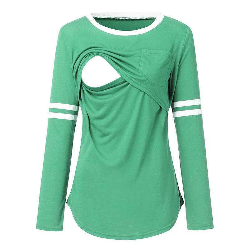 Maternity Round collar Color Block Plain Long-sleeve Nursing Tee