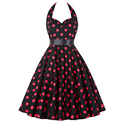 Audrey Hepburn Points Polka Robes Rétro Vintage Années 50 Les rugissantes années 20 Robe Rockabilly Robe de bal Femme Costume Rouge Vintage Cosplay Sans Manches Mi-long Lightinthebox