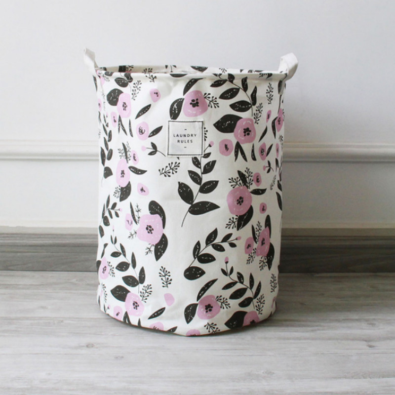 Concise Flower Print Laundry Storage Bucket