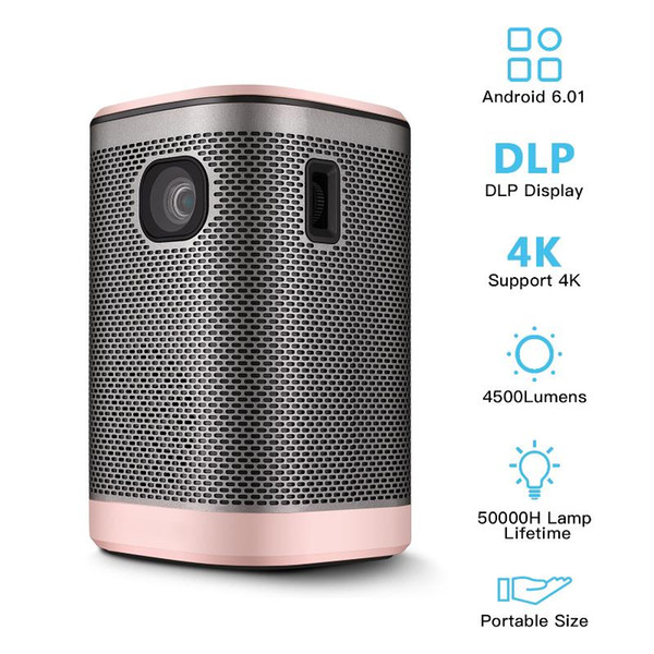 mini portable projector hifi speaker wifi bt function dlp movie projector home theater 4500lumens android 6.0(1g+8g) touchpad