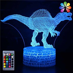 3D Dinosaur Night Light Illusion Lamp 16 Color Change Decor Lamp with Remote Control for Living Bed Room Bar Best Gift Toys for Boys Girls