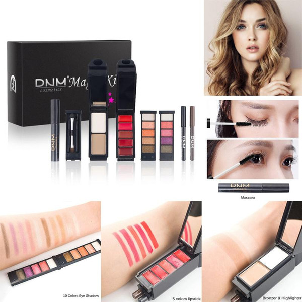 8pcs/set makeup tool kit including waterproof mascara bronzer highlighter matte lipstick eyeshadow eyeliner eyebrow makeup brush