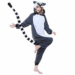 Adults' Camouflage Kigurumi Pajamas Nightwear Monkey Lemur Animal Onesie Pajamas Polar Fleece Synthetic Fiber Gray Cosplay For Men and Women Animal Sleepwear Cartoon Festival / Holiday Costumes Lightinthebox