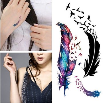 DIY Hollow Feather Watterproof Tattoo Stickers Scar Cover Paste Temporary Tattoos