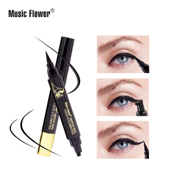 music flower liqiud eyeliner pen waterproof 24h long-lasting matte eye liner black quick-dry makeup pen m5057