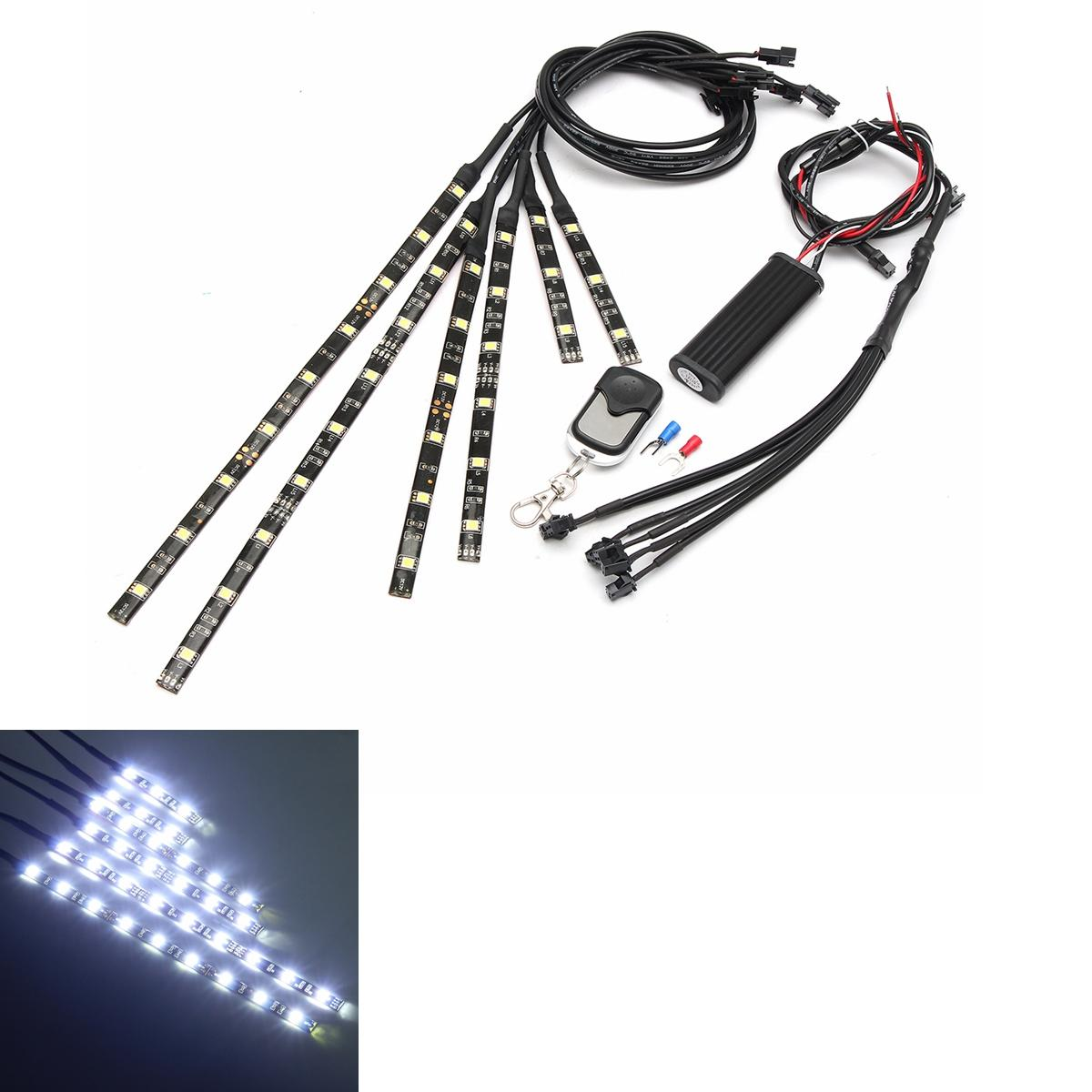 6x White 18LEDs Wireless Remote Car Motorcycle Frame Lights Flexible Neon Strips