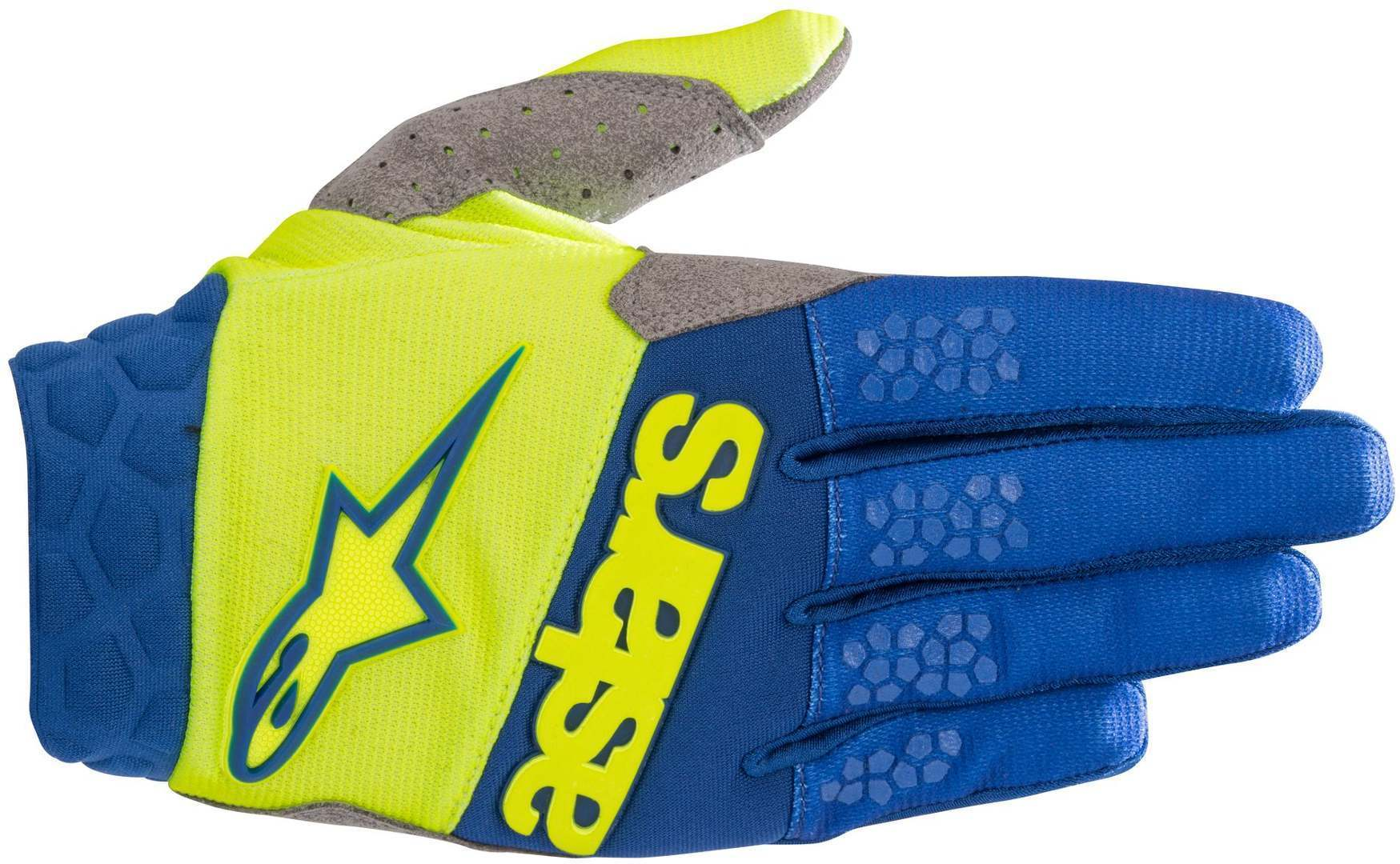 Alpinestars Racefend MX Textile Gloves, blue-yellow, Size M, blue-yellow, Size M