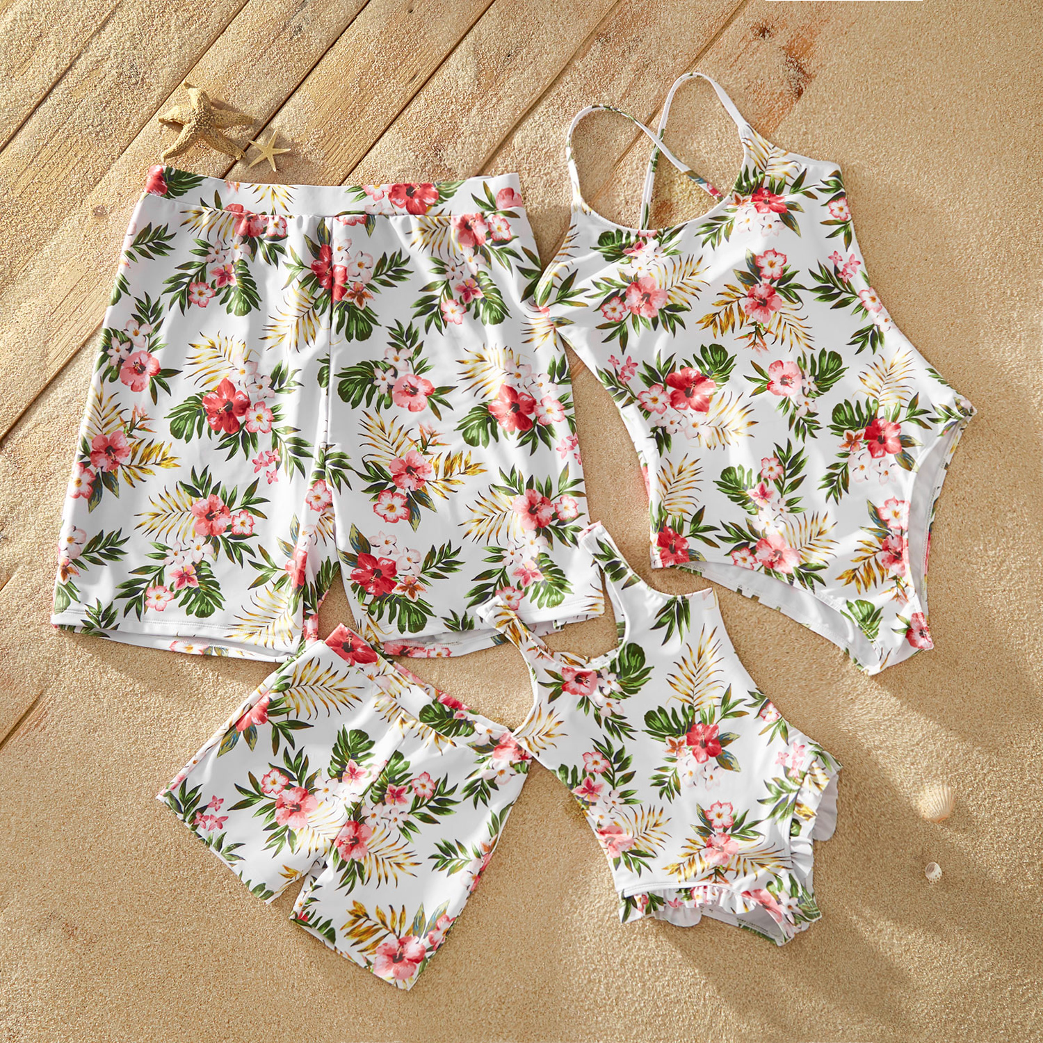 Tropical Plants Print Matching Swimsuits
