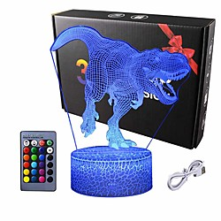 3D Dinosaur LED Night Light 3D Illusion Lamp Remote Touch Switch 16 Color Change 3D Decor Lamp Christmas Gift Holidays Present for Kid Children Bedroom Bedside Lights