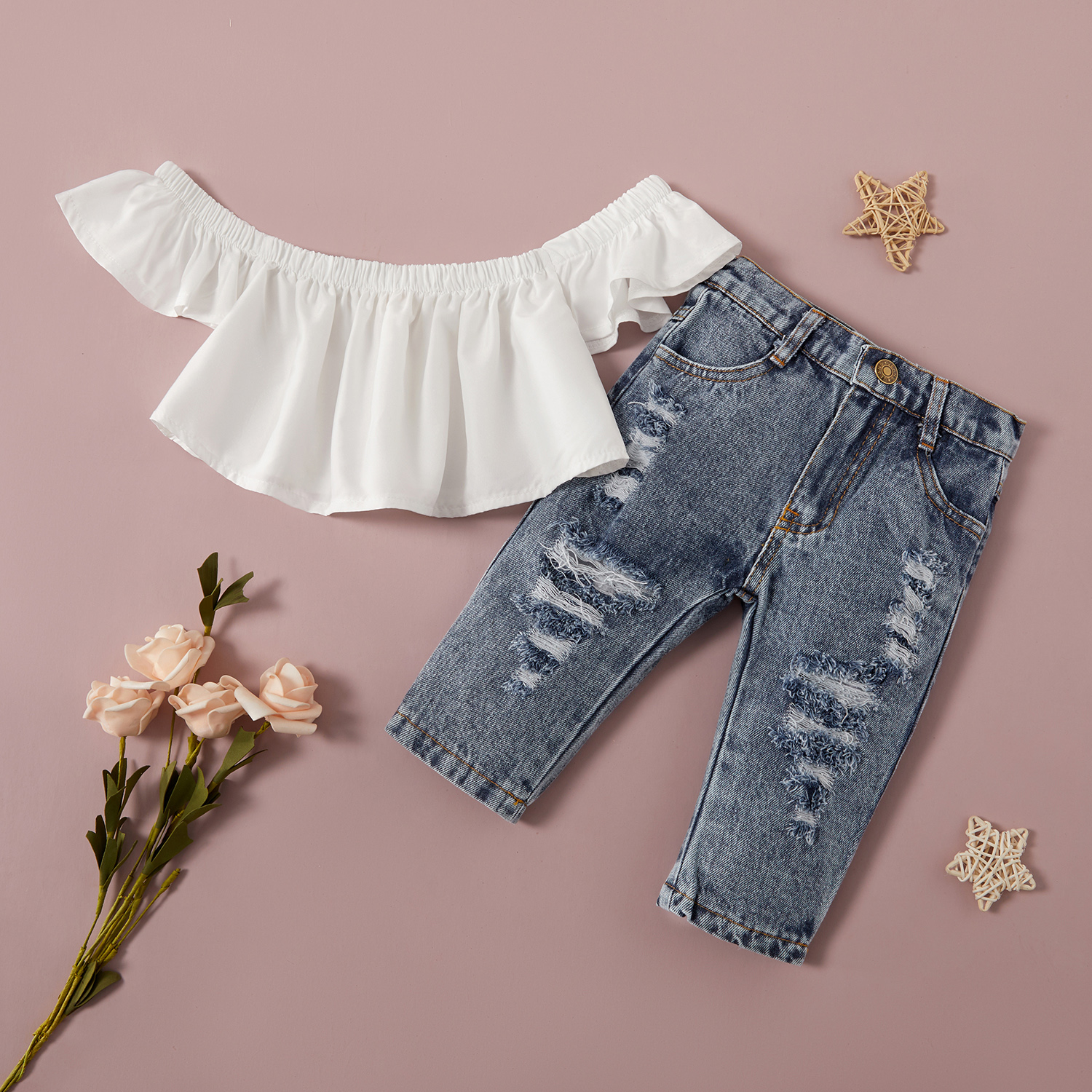 2-piece Baby / Toddler Girl Solid Off Shoulder Top and Jeans Set