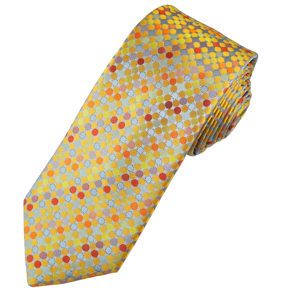 Tresanti Reale Silver, Gold, Orange & Red Polka Dot Silk Designer Tie