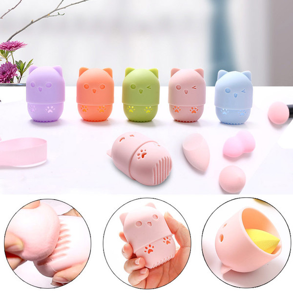 cute sponge drying holder soft silicone beauty make up egg stand cosmetics blender case sponges makeup rack powder puff holder