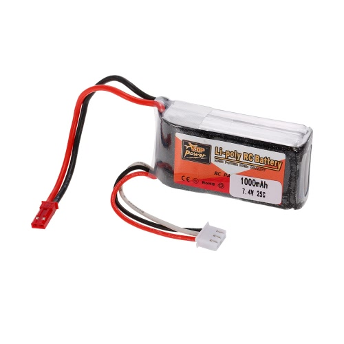 ZOP Power 2S 7.4V 1000mAh 25C LiPo Battery JST Plug