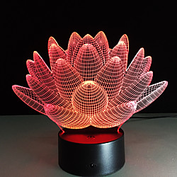 Lotus Touch Table Lamp 3D Visual Switch 7 Colorful Changing Mood Lamp Holiday Light Bedroom Decoration