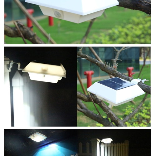3W 6LED Solar Powered PIR Motion Sensor Wall Mount Lamp Security Outdoor Light Dusk to Dawn Auto On/Off with Bright/Dim Mode for Garden Door Street Path Yard