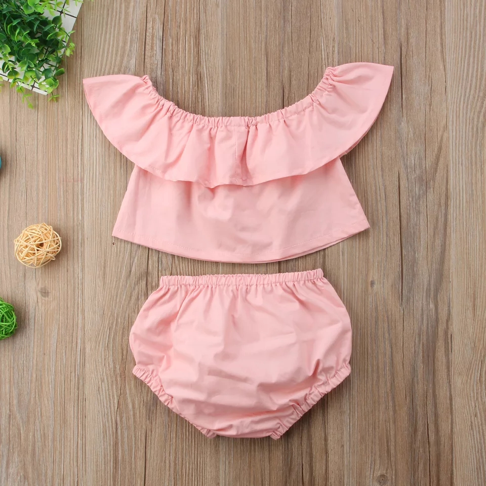 Baby Girl Sweet Solid Top and PP Shorts Set