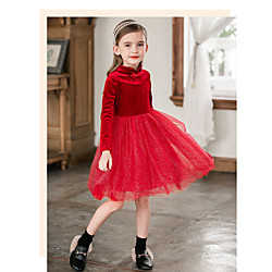 Kids Toddler Girls' Cute Red Solid Colored Mesh Long Sleeve Knee-length Dress Red