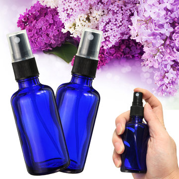 50ml Blue Glass Amber Refilliable Bottle With Fine Mist Spray Aromatherapy Perfume