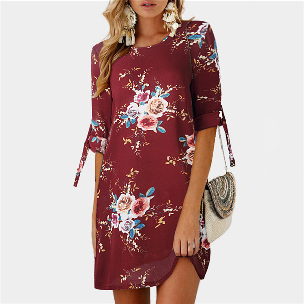 Elegant Floral Half-sleeve Mini Dress