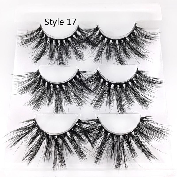 3 pairs 5d mink hair false eyelashes long cross wispy fluffy dramatic resuable eye lashes extension eye makeup tools handmade