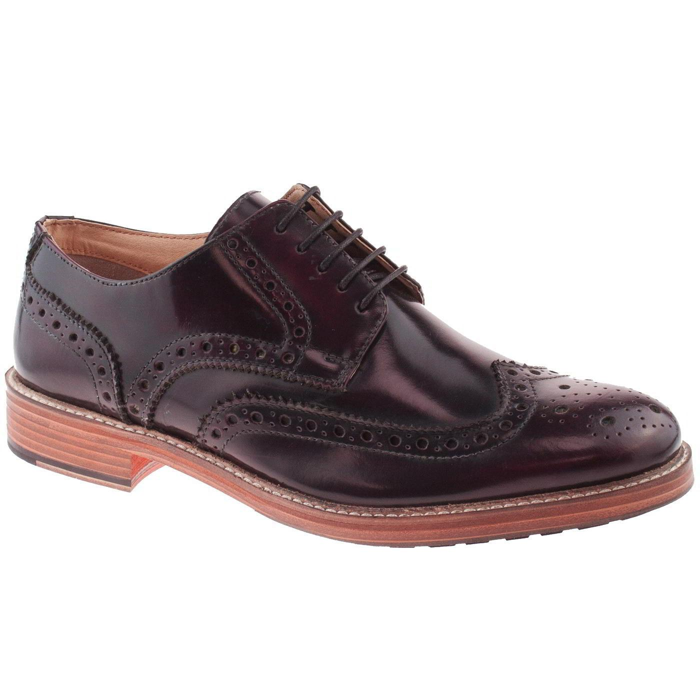 Roamers Mens Leather Brogue Wing Capped Gibson Shoes- UK 11
