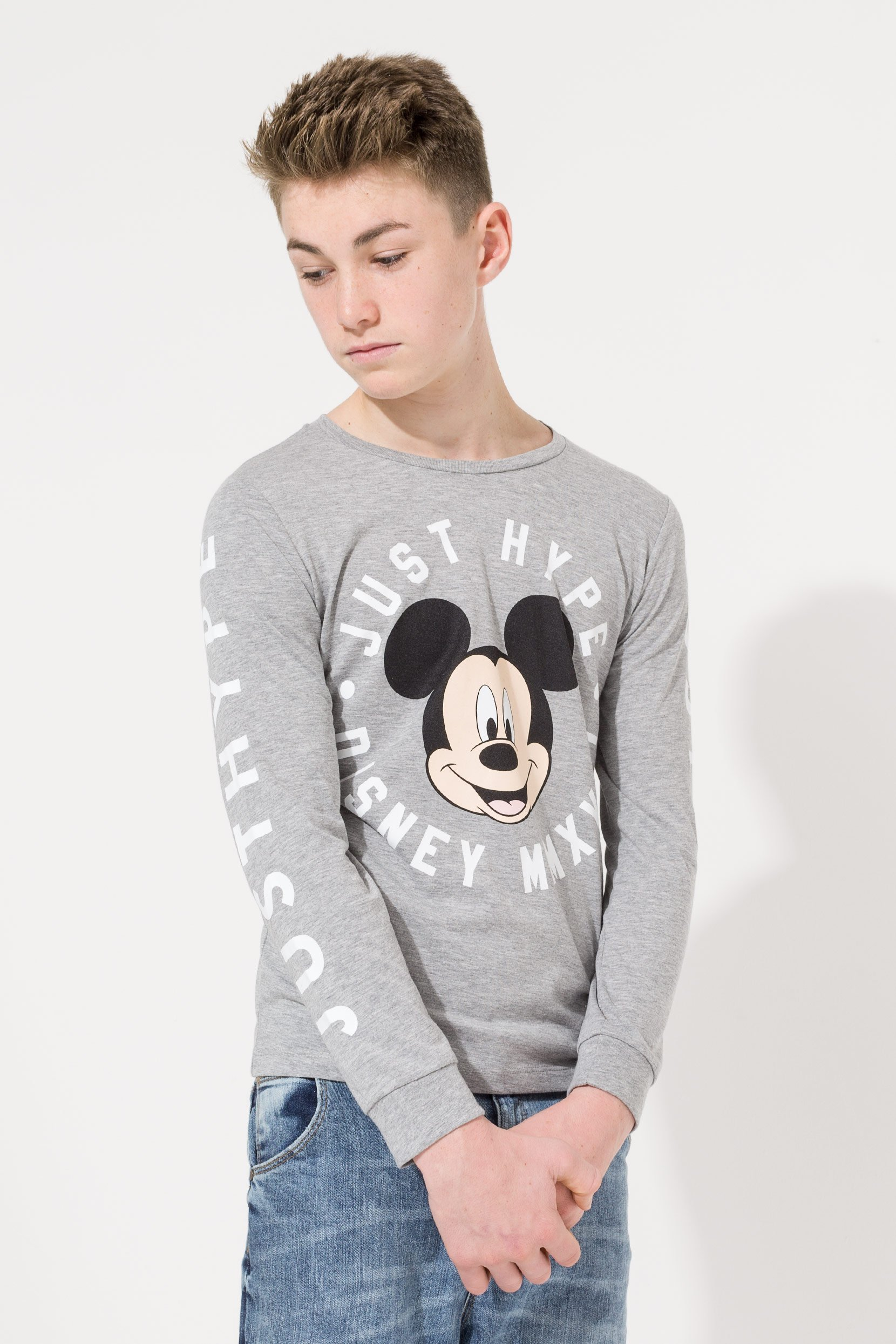 Hype Disney Grey Mickey Mouse Circle Kids Long Sleeve T-Shirt | Size 11-12