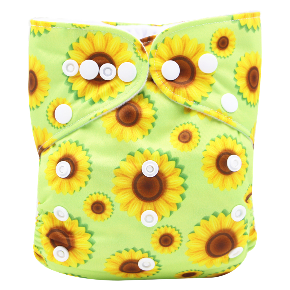 Reusable Adjustable Sunflower Print Cloth Diaper with One Insert