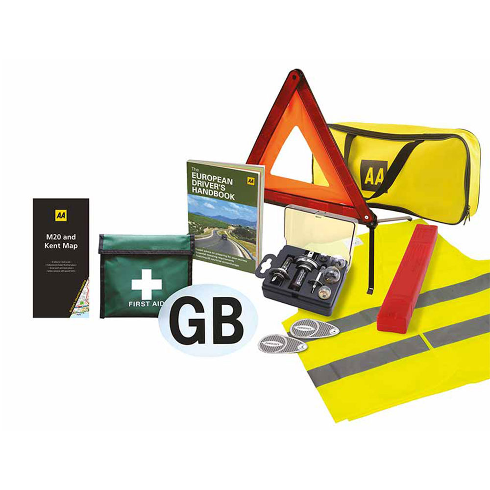 AA Car Essentials Euro Travel Safety Kit Inc. Universal Bulb Kit, First Aid Kit, GB Plate, Reflective Jacket, Triangle etc.