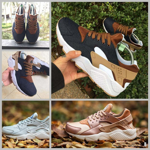 2018 huarache id custom breathe running shoes for men women women men navy blue tan air huaraches sneakers huraches hurache trainers