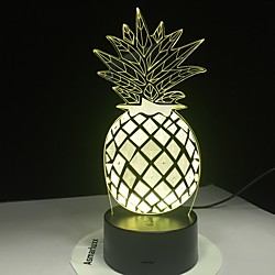 Pineapple LED Night Light 7 Colors 3D Optical Illusion Lamp for Bedroom Desk Lamp Lightinthebox